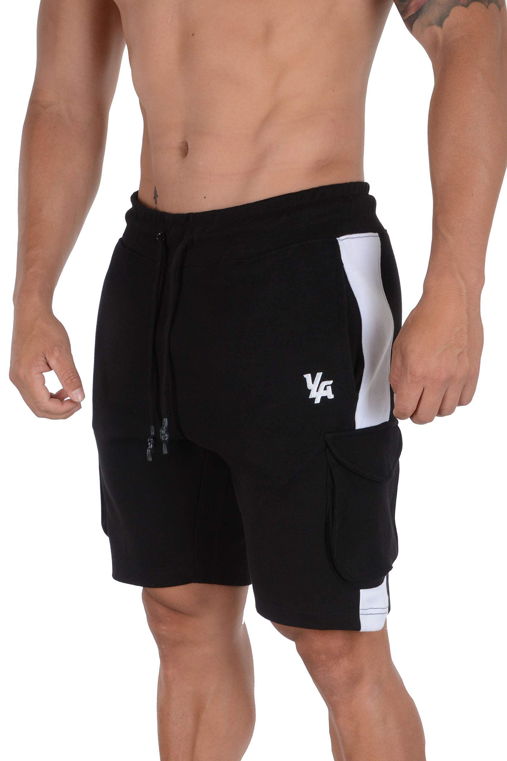 YoungLA Mens Cargo Gym Shorts Casual Workout Athletic Pockets 118 BWHT M Black/White