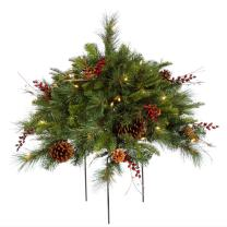 Vickerman 1.5-Feet Cibola Berry Artificial Bush with 50 Clear Lights