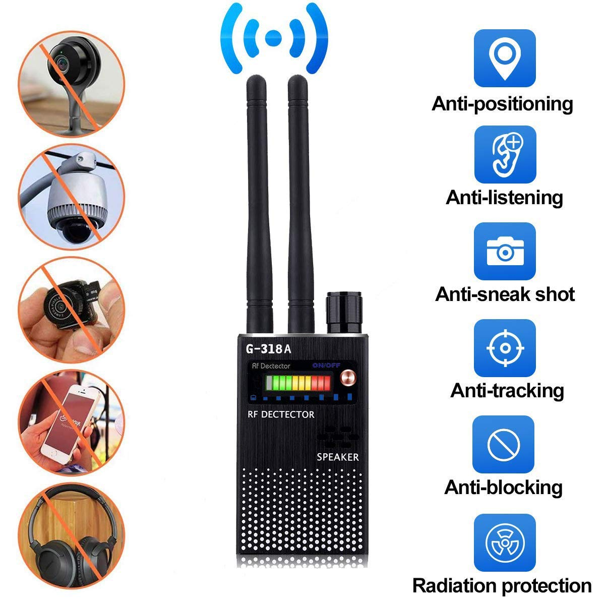Anti Spy RF Signal Wireless Bug Hidden Camera Detector GSM Listening GPS Tracker Finder(G318 & G319 Update Version) (Black)
