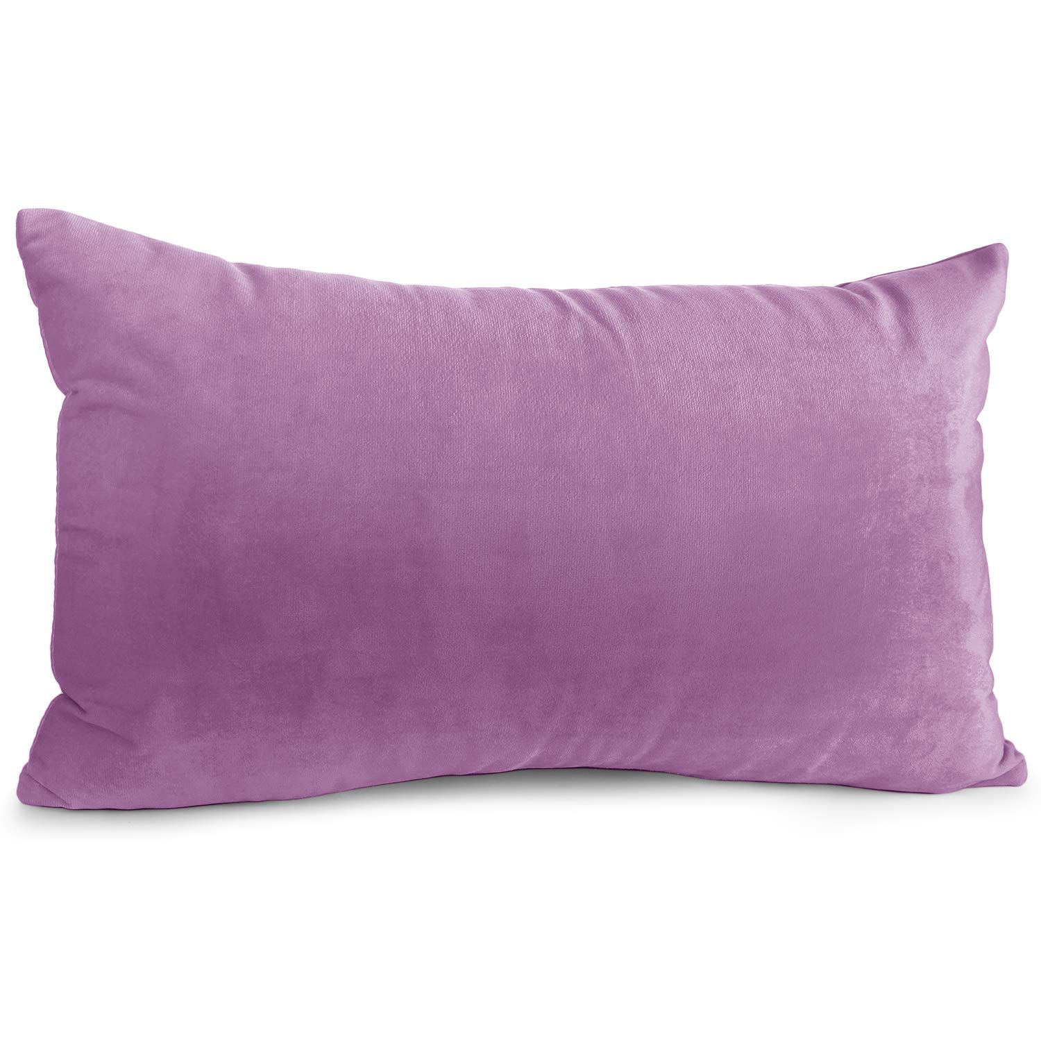 """Nestl Bedding Throw Pillow Cover 12"""" x 20"""" Soft Square Decorative Throw Pillow Covers Cozy Velvet Cushion Case for Sofa Couch Bedroom - Lavender Dream"""