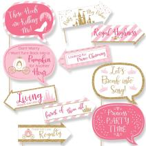 Funny Little Princess Crown - Pink and Gold Princess Baby Shower or Birthday Party Photo Booth Props Kit - 10 Piece