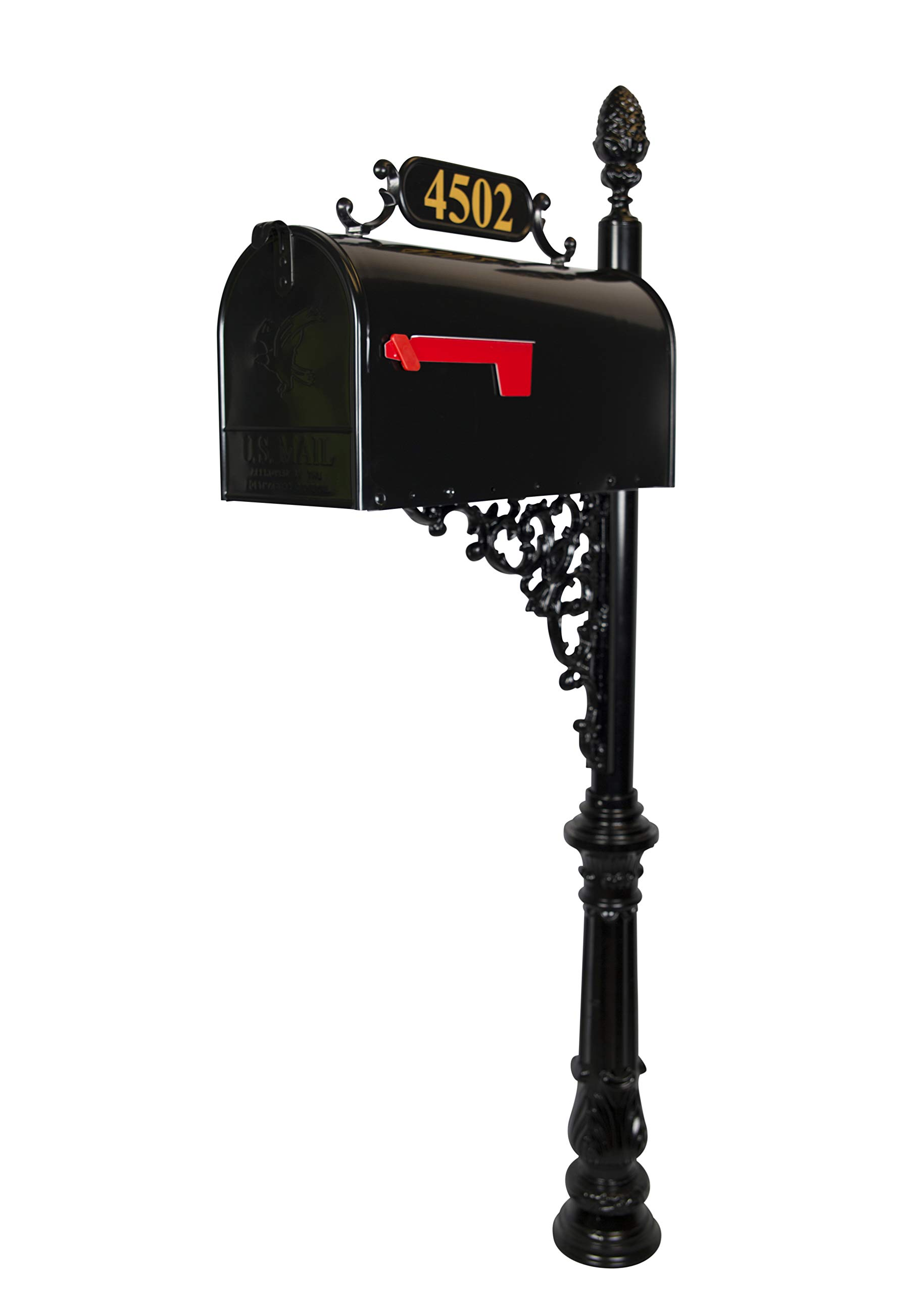 ADDRESSES OF DISTINCTION Magnolia Standard Mailbox & Post System – Black Rust Resistant Mailbox – Includes Plaque, Decorative Bracket, Pineapple Finial & Mounting Hardware - Customized Address Numbers