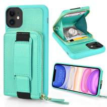 iPhone 11 Zipper Case, ZVEdeng iPhone 11 Zipper Wallet Case with Credit Card Holder, iPhone 11 Kickstand Case with Wrist Strap Bumper Phone Case Handbag-Mint Green