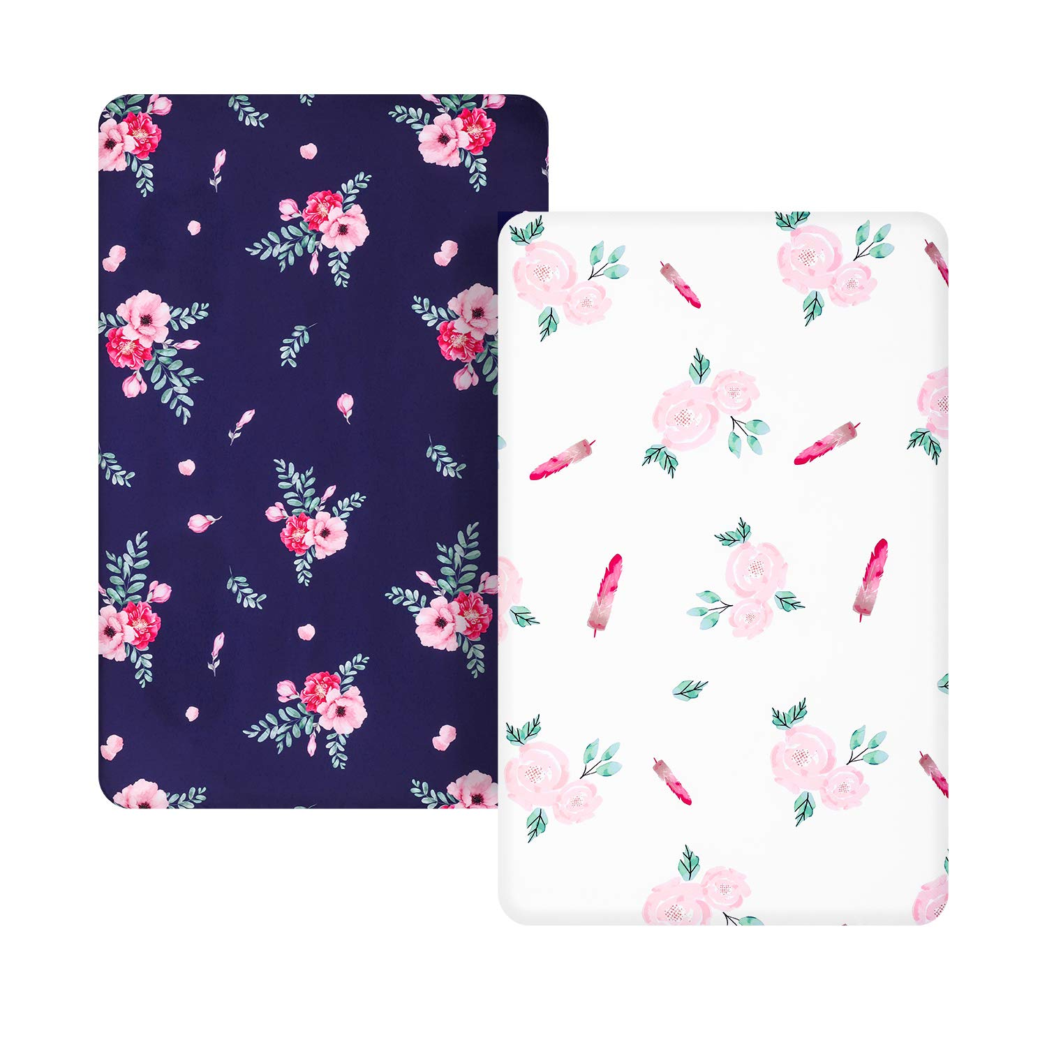 TILLYOU Microfiber Floral Pack N Play Sheets, Mini Portable Crib Sheets Set Fitted for Girls, Silky Soft Breathable Printed Playard Playpen Sheets, Navy & White Rose
