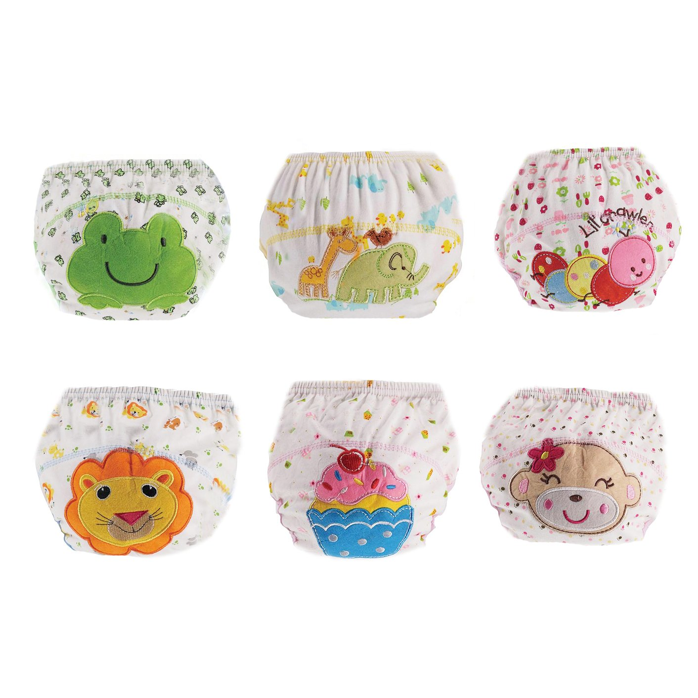 6 Pack Baby Girl Boy Toilet Pee Potty Training Pants Toddler Cotton Washable Diaper Nappy Training Underwear Size L