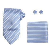 Y&G Men's Fashion Birthday Necktie Cufflinks Hanky Mens Stripe Various Silk Tie 3PT