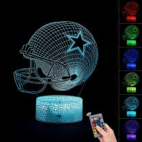 Bebamour Helmet Hat Toys for Kids 3D Night Light Bedside Lamp 7 Colors Changing with Remote Control Best Birthday Gifts for Boys Girls Baby Toddlers Age 1 2 3 4 5 6 7 8 9 10 Year Olds (Helmet Lamp)