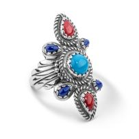 American West Sterling Silver Turquoise, Blue Lapis and Red Coral Gemstone Scalloped Bold Ring Size 5 to 10
