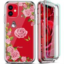 FIRMGE for iPhone 11 Case, with 2 x Tempered Glass Screen Protector 360 Full-Body Coverage Hard PC TPU Silicone 3 in 1 Military Grade Shockproof Floral Design Phone Protective Cover- Clear Flower 017
