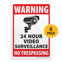 6-Pack Video Surveillance Sign, Rust Free Aluminum Reflective Metal Signs, Indoor or Outdoor No Trespassing Security Warning, Use for Home Business CCTV Security Camera, UV Protected & Waterproof