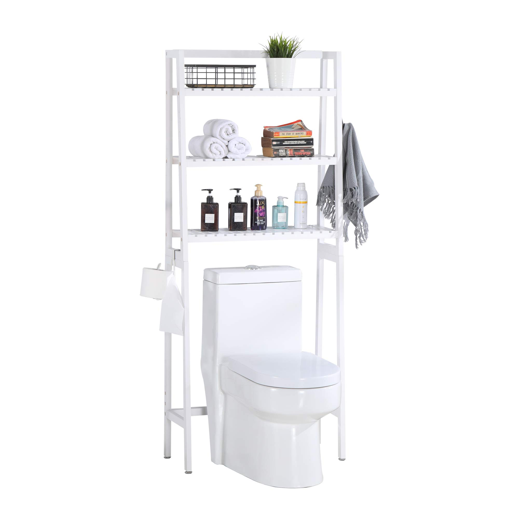 MallBoo Toilet Storage Rack, 3 -Tier Over-The-Toilet Bathroom Spacesaver - 100% Wood and Easy to Assemble (Classic White)