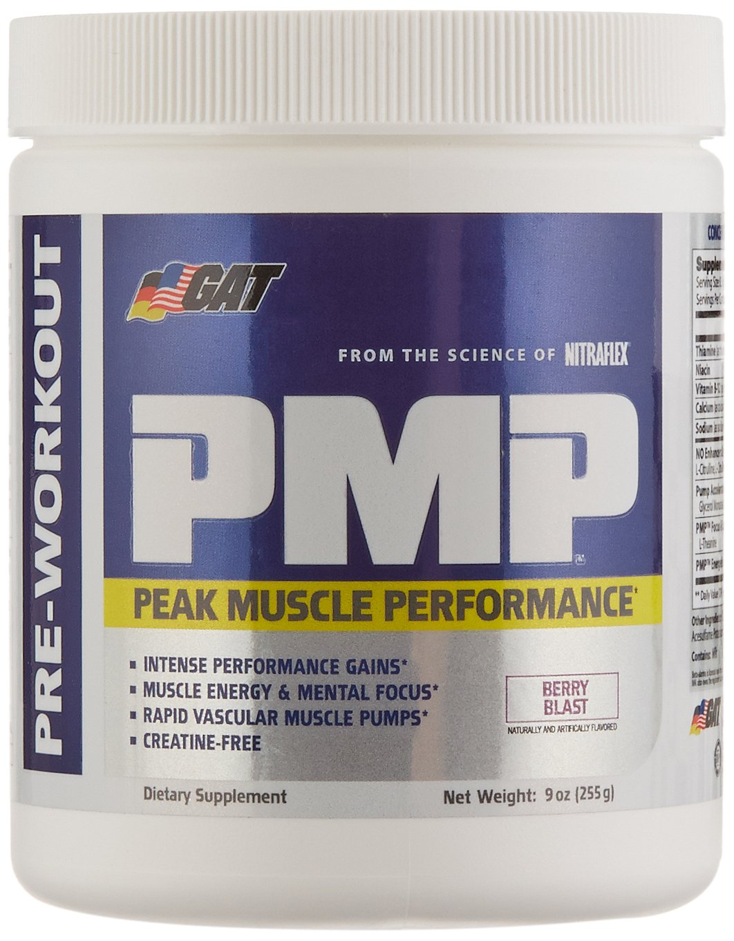 GAT PMP (Peak Muscle Performance), Next Generation Pre Workout Powder for Intense Performance Gains, Berry Blast, 30 Servings