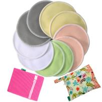 Bamboo Nursing Pads-Anyos- 4.7in (12cm) 10 Pack with Laundry Bag and Wet Bag,Ultra Soft & Absorbent, Reusable & Washable, Hypoallergenic & Breathable, Eco-Friendly Breastfeeding Pads