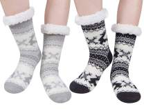 2 Pairs Womens Winter Warm Thick Cozy Fuzzy Sherpa Fleece Lined Christmas Slipper Socks With Grippers