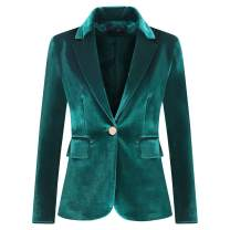 Women's Velvet 1 Button Blazer Jacket Office Work Suit Jacket Party Dress Coat