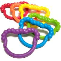 Baby Rings & Baby Links Toddler Toys - Rainbow Linking Baby Accessories For 1 2 3 Year Old - Infant Toys, Baby Toys and Tinker Toys To Attach To Stroller, Baby Car Seat, Cribs, Diaper Bags - 6pc Set