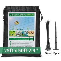 """DEBARK 25' x 50' Net Netting for Bird Poultry Aviary Game Pens Economical Bird Netting-Protect Blueberry,Plants and Vegetables from Ows New 2.4"""" Square Mesh Size"""