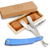 Best Shavette Straight Razor - Replaceable Blade Razor, Great For Beginners, Hygenic & Easy Care. No Stropping or Honing. Power Steel Handle. Close Shave Every Time. Leather Case, Starter Blade (Blue)