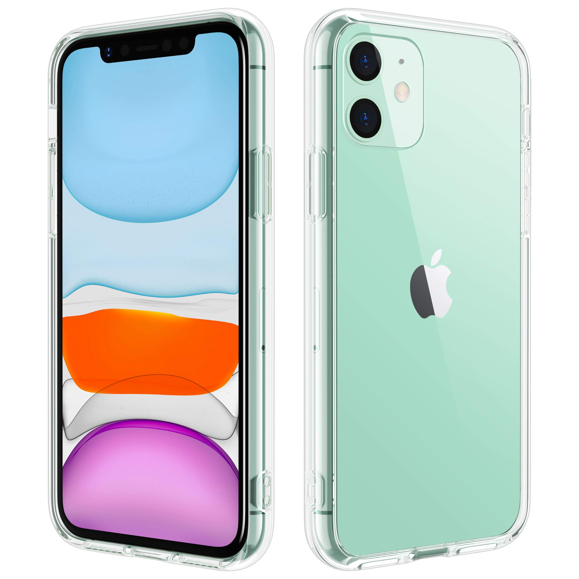 DEFACE for iPhone 11 Case Clear Tempered Glass Back Cover with TPU Frame Scratch-Resistant Anti-Yellowing Shock Absorption Protective Case for iPhone 11 6.1