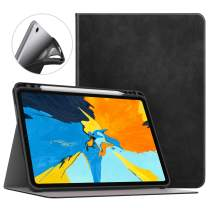 """MoKo Case Fit iPad Pro 11"""" 2018 with Pencil Holder [Support Magnetically Attach Charging/Pairing Feature] Light Weight Premium Shock Proof Stand Folio Cover with Auto Wake/Sleep - Black"""