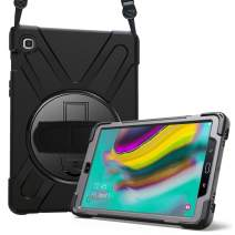 ProCase Galaxy Tab S5e 10.5 2019 Case T720 T725 T727, Rugged Heavy Duty Shockproof Rotating Kickstand Protective Cover Case for Galaxy Tab S5e 10.5 Model SM-T720/SM-T725/SM-T727 2019 Release -Black