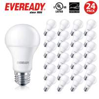 Eveready Led Light Bulbs, Dimmable, 800 Lumens, 2700K Soft White Color, 25,000 Hours Lighting Lifespan, 9-Watt (60W Bulb Equivalent), A19 E26 Base, Energy Star Certified, UL Listed – 24 Pack