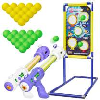KOVEBBLE Shooting Target with 2pk Foam Ball Popper, Target Stand Toy Foam Blaster for Kids, Shooting Games Set, Girl Boy Toys Gift for Age 5 6 7 8 9 10+ (291542 inch)