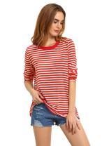 Romwe Women's Stripe Long Sleeve Casual Loose Top T-Shirt