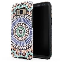 BURGA Phone Case Compatible with Samsung Galaxy S8 - Pastel Illusion Moroccan Marrakesh Tile Pattern Colorful Mosaic Heavy Duty Shockproof Dual Layer Hard Shell + Silicone Protective Cover