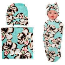 Quest Sweet Newborn Baby Blanket and Bow Hat Set Baby Swaddle Receiving Blankets