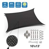 DOEWORKS Rectangle 10' X 13' Sun Shade Sail with Stainless Steel Hardware Kit, Idea for Outdoor Patio, Graphite