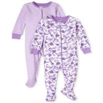 The Children's Place Baby and Toddler Girls Floral Snug Fit Cotton One Piece Pajamas 2-Pack