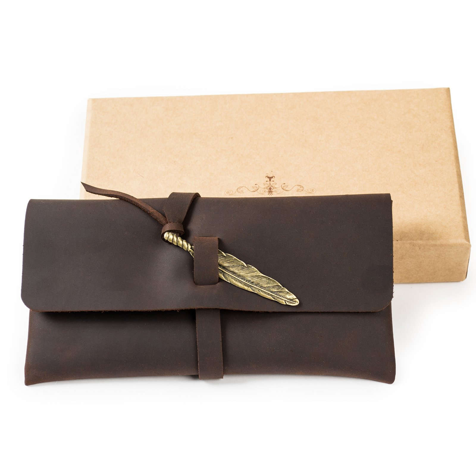 Ancicraft Leather Pouch Pen Case Pencil Holder Phone Bag Pocket with Vintage Feather Closure in Gift Box (Dark brown with feather)