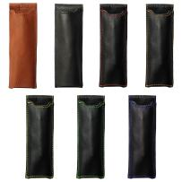 """Pocket Two Pen Holder Quiver, Pen Holder For Notebooks, Pen Sleeve For Notebooks, A6, 5.5"""" - 6.5"""" tall. (14cm - 16.5cm) (Black Leather, Green Stitching)"""
