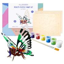 Allessimo Reality Puzzles 3D Wooden Model Paint Kit (Butterfly - 16 pc Puzzle) Toys for Kids & Adults DIY Puzzle Build 3D Puzzles Paint Kits