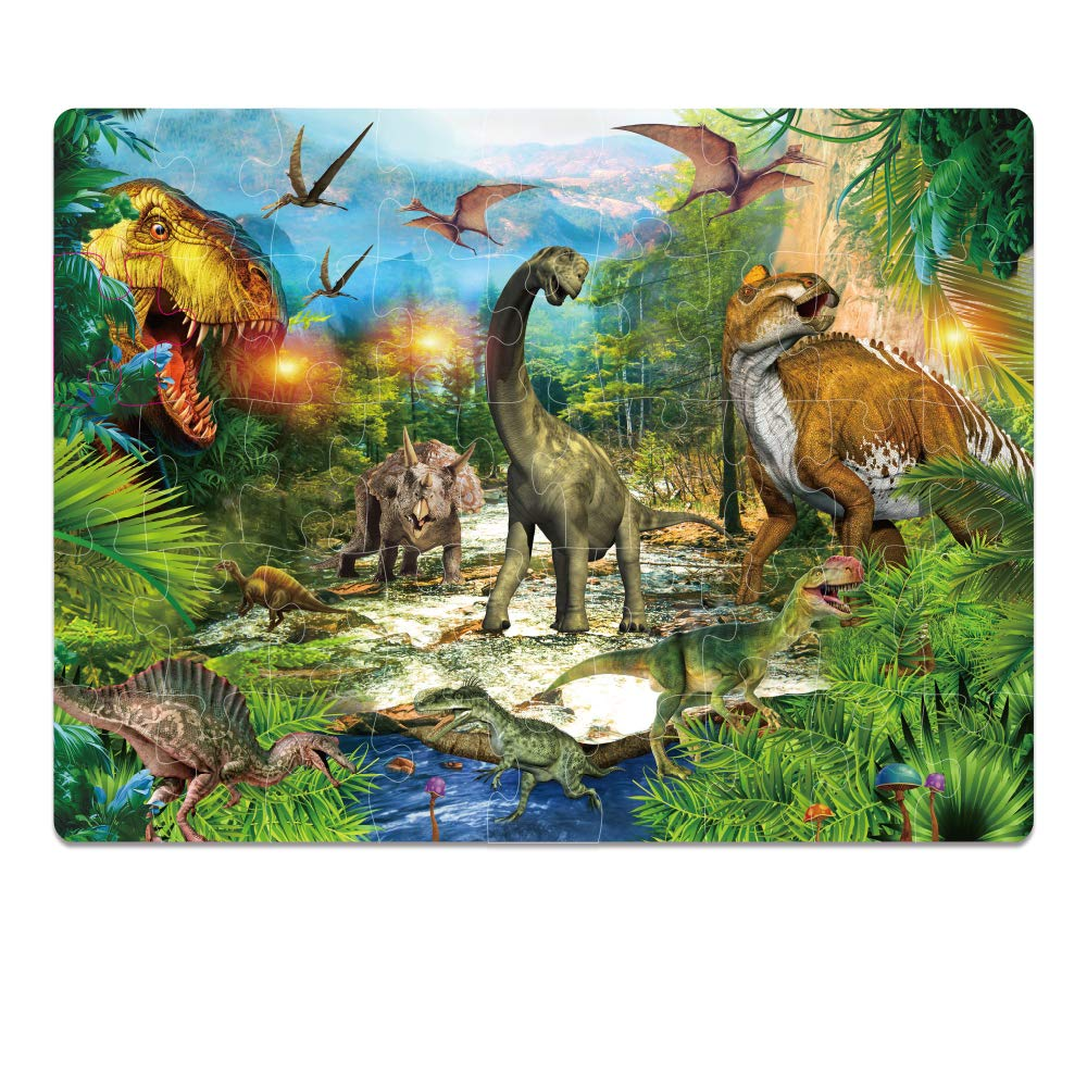 Jigsaw Toy Puzzles,Dinosaur Puzzle Glow in The Dark Raising Children Recognition & Promoting Hand-Eye Coordination, Gifts for Educational and Fun Learning Games Ideal for Kids Ages 4 &Up (46Pcs)