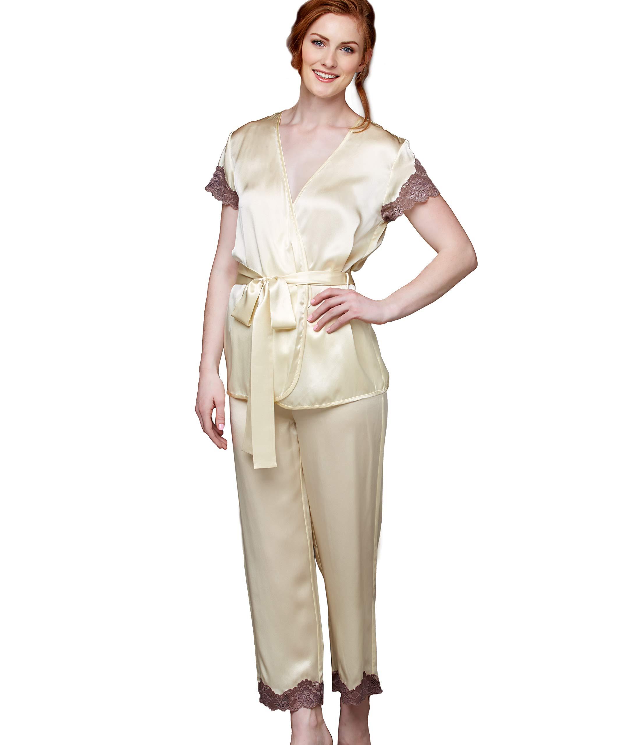Julianna Rae Island Time Women's 100% Silk Wrap Pajama, Sleepwear, Lingerie, Beautiful Gift Packaging
