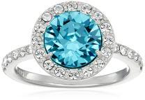 Platinum or Gold Plated Sterling Silver Round-Cut Swarovski Zirconia Halo Ring