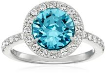 Platinum or Gold Plated Sterling Silver Round-Cut Swarovski Zirconia Halo Ring