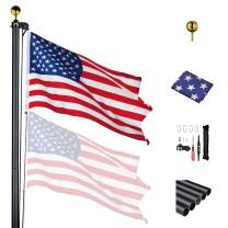 Yeshom 20 Ft Aluminum Sectional Flagpole with 3x5 Ft US Flag Gold Ball Outdoor