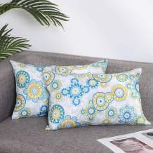 Eternal Beauty Pack of 2 Decorative Pillow Covers Outdoor Lumbar Pillow Cases for Patio Couch Pillows, Boho Floral, 12X20 inches