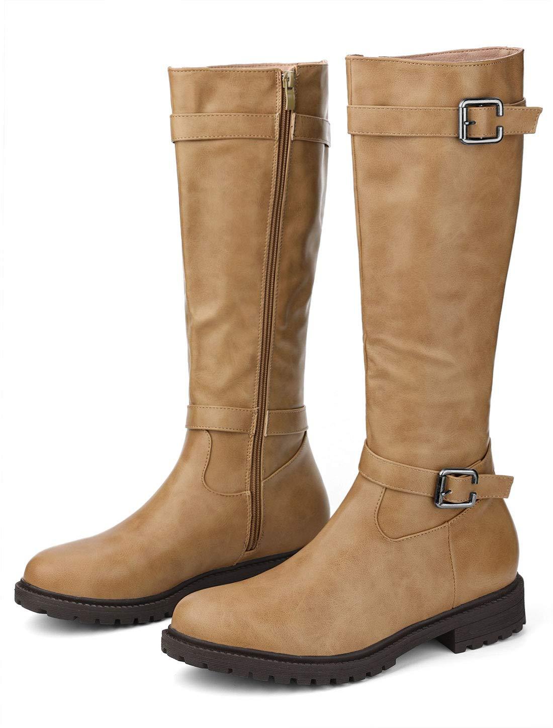 Allegra K Women's Buckle Decor Zip Knee High Riding Boots