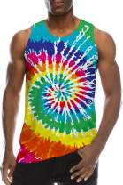 Mens Colorful Neon Crewneck Tank Top 90s Boys 3D Printed Rainbow Color Circle Sleeveless Shirt for Youth Novelty Turbo Patterns Design Hip Hop T-Shirts Bro Fashion Ringer Beach Holiday Tees, S