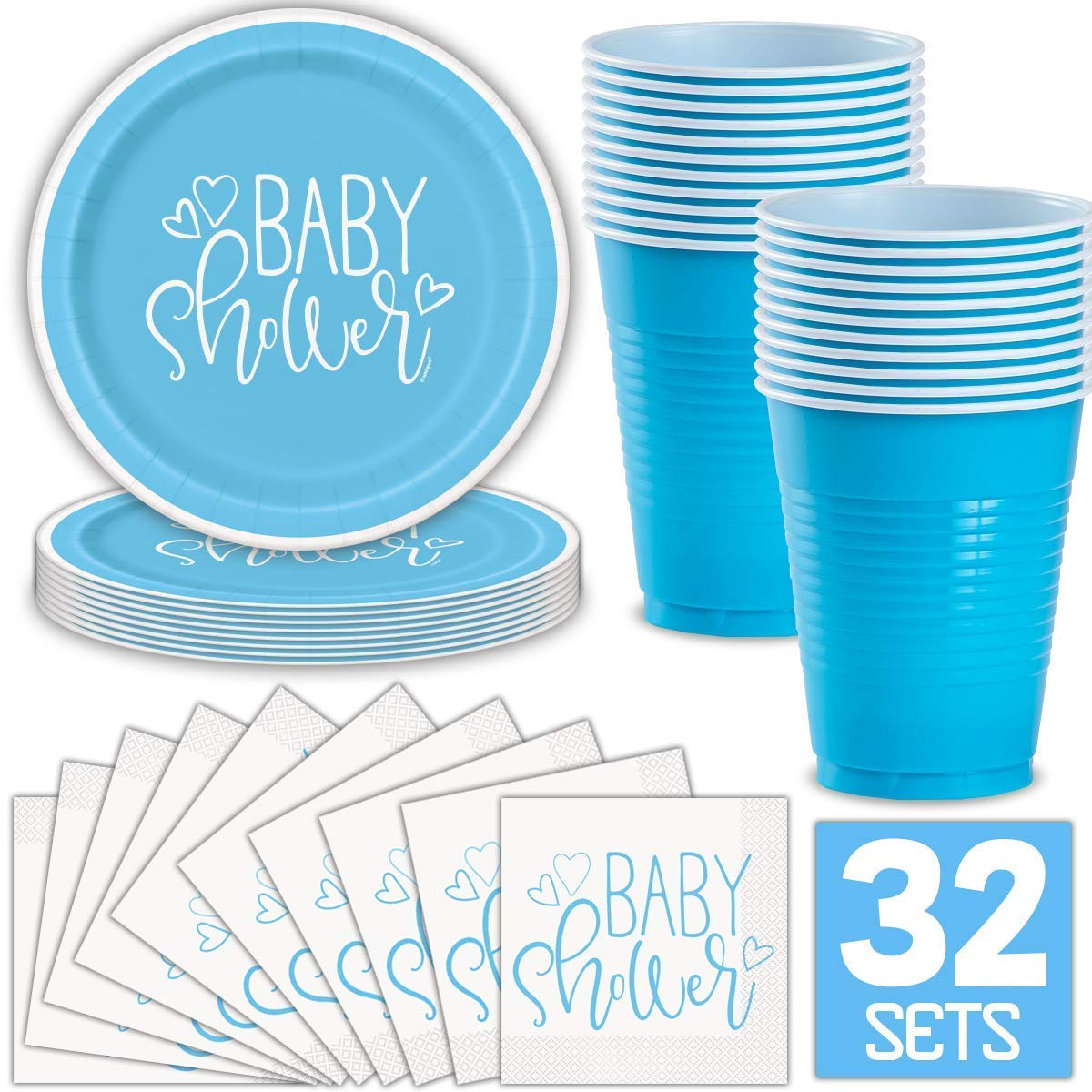 Boy Baby Shower Party Supplies for 32 Guests (Blue) Includes: Paper Plates, Luncheon Napkins, 16 oz Cups, Classy and Stylish Light Blue Design