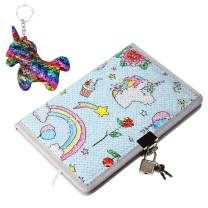 POJO TECH Sequin Notebook - Reversible Sequin Journal Diary with Lock – Magic Travel Journal Notebook Gift for Adults and Kids (Unicorn04)