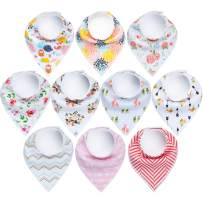 """10-Pack Baby Bandana Bibs Upsimples Baby Girl Bibs for Drooling and Teething, 100% Organic Cotton and Super Absorbent Hypoallergenic Bibs Baby Shower Gift - """"Floral Set"""""""