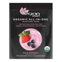 Vegansmart Organic Plant Based Protein Powder by Naturade, All-In-One Shake - Wild Berries, Single Serving Packet
