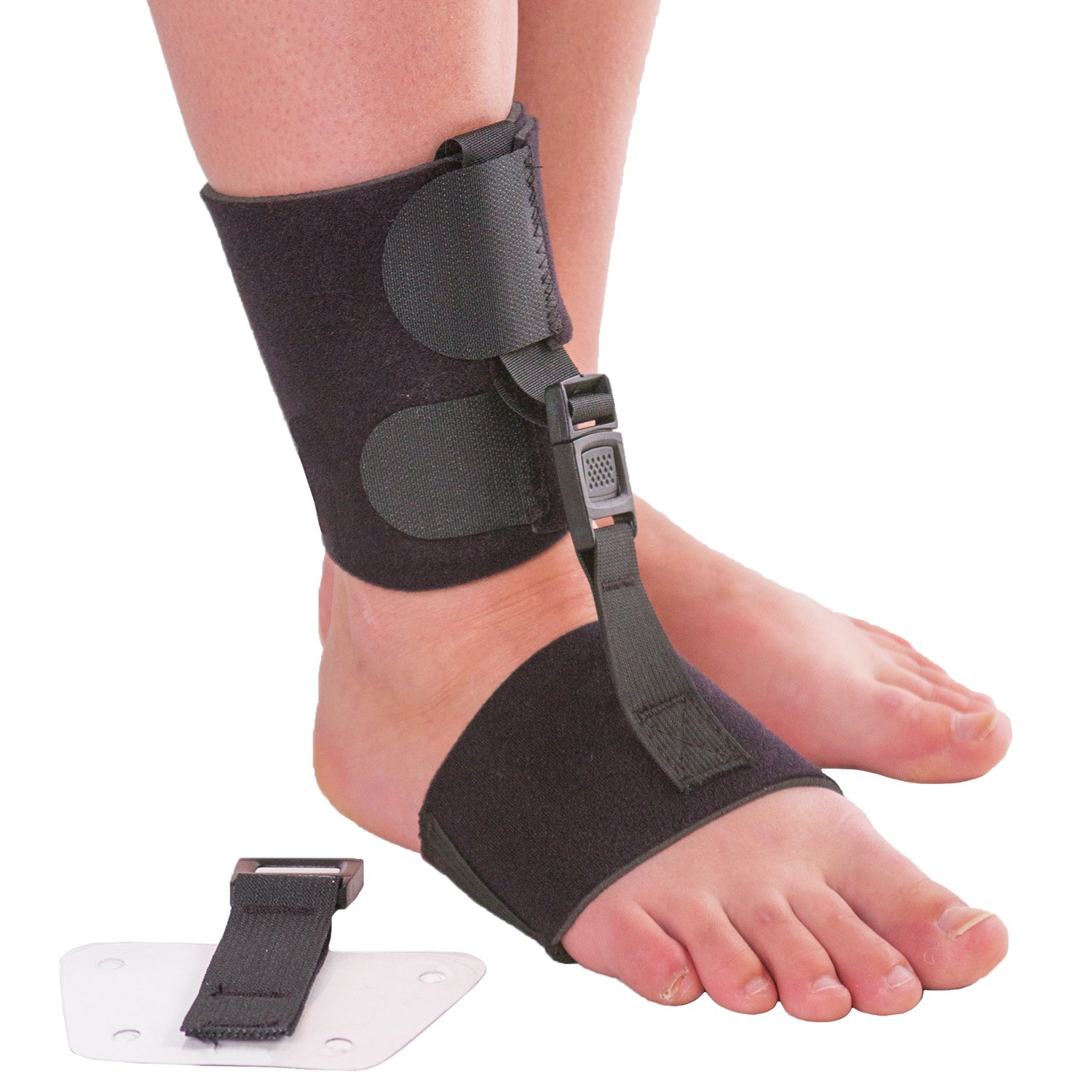 Soft AFO Foot Drop Brace | Ankle Foot Orthosis with Dorsiflexion Assist Strap Keeps Foot Up for Improved Walking Gait, Prevents Cramps - Wear Barefoot or Inside Shoe (L/XL)