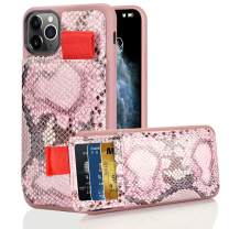 """LAMEEKU iPhone 11 Pro Max Case, iPhone 11 Pro Max Wallet Case with Credit Card Holder Slot, Snake Skin Pattern iPhone 11 Pro Max Case Wallet Leather Phone Case for iPhone 11 Pro Max 6.5"""" (2019)-Pink"""