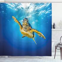 """Ambesonne Turtle Shower Curtain, Eretmochelys Imbricata Swimming in Blue Waters Sun Rays Oceanic Wildlife, Cloth Fabric Bathroom Decor Set with Hooks, 70"""" Long, Blue Yellow"""